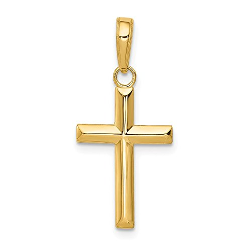Mia Diamonds 14k Solid Yellow Gold Small Cross Pendant (23mm x 11mm)