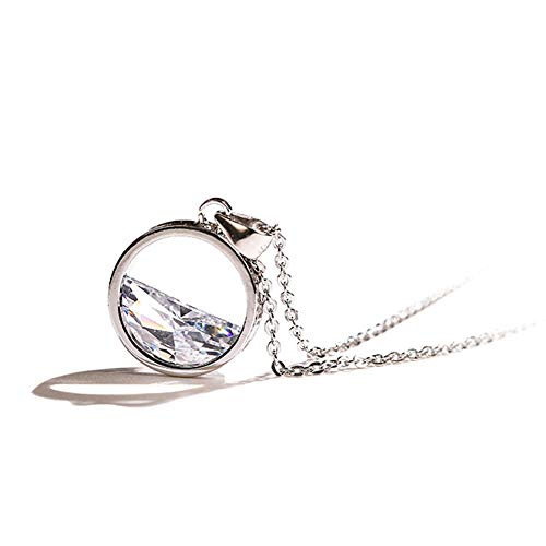 SKA Jewelry Love Circle Necklace Eternity Tenderness Cubic Zirconia Pendant Necklace White Gold Plated Romantic Gift for 10th Anniversary