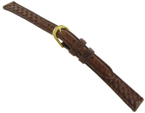 12mm Timex Ladies Padded Oil Leather Stitched Brown Long Watch Band (Watch Band Timex 10mm)