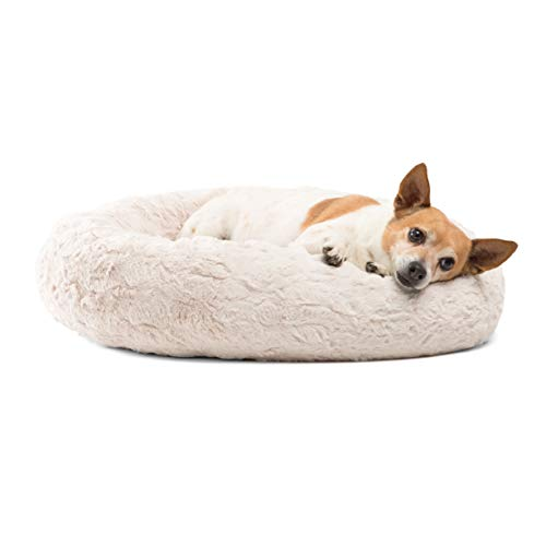"Best Friends by Sheri Donut Cuddler in Lux Fur Dog Bed/Cat Bed, 23""X23"", Oyster"