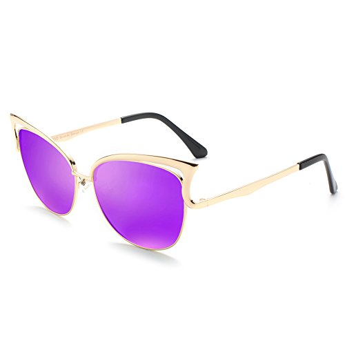 Women Sunglasses, Vintage Cateye Sunglasses for Women Polarized Mirror Designer by BLUEKIKI YEUX - Designer Purple Sunglasses