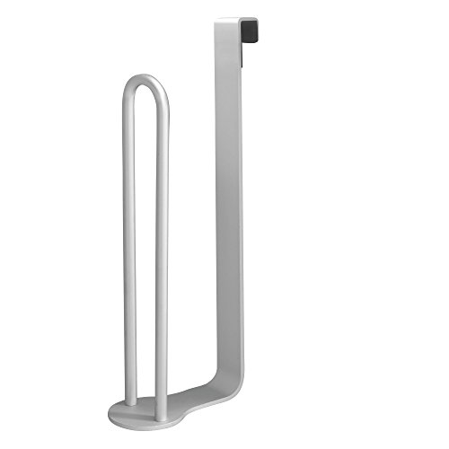 mDesign Aluminum Metal Modern Over-The-Tank Toilet Paper Holder Organizer for Bathroom Extra Organizing Storage, Set of 2, Silver by mDesign (Image #6)
