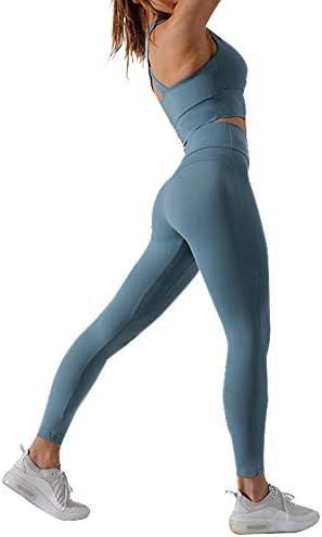 女性用スポーツウェアヨガウェアセットスポーツブラ+ハイウエストレギンス隠しウエストポケット2点セットピラティスジムウェアセット、スポーツ