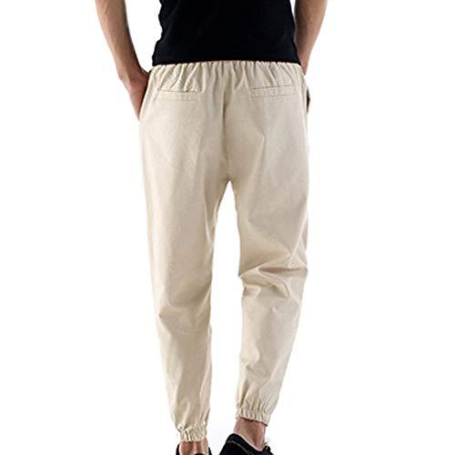 3 Tinta In 5 Colori Estivi Traspirante Leggeri A Pantaloni Colour c3 4 Casual Fashion Coulisse Comode Hx Da Abiti Con Unita Leggero Uomo Taglie Lino qUI7FR1wn