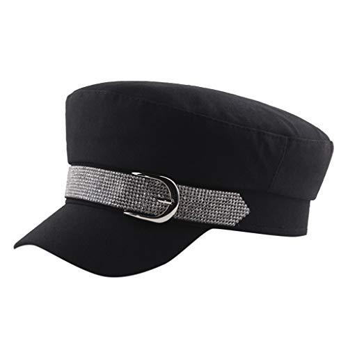(Luonita Fashionable New Cadet Baseball Cap Adjustable Rhinestone Army Military Style Flat Top Hat for Women Girls)