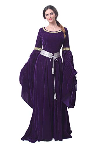 Nuoqi Renaissance Medieval Dress Nuoqi Women's Victorian Gown Costume Long -