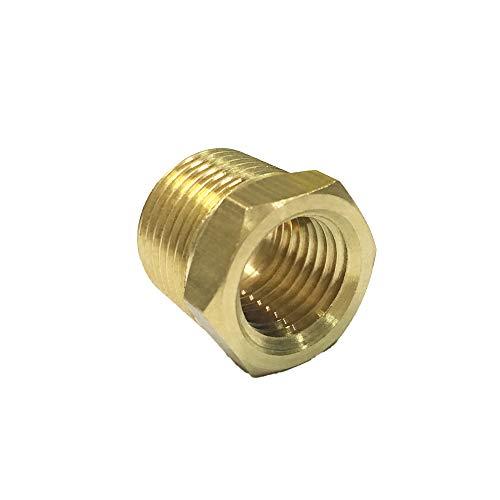 "NIGO Brass Pipe Fitting, Hex Bushing (1 Pack, 1/2"" NPT Male x 3/8"" NPT Female)"