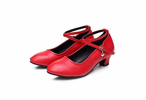 SQIAO-X- Scarpe da ballo con suola in gomma morbida, 中 Hasp, adulto, Danza l amicizia Dance Dance Latina Professional scarpe da ballo, nero,35