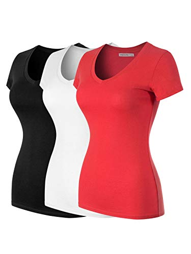 (Design by Olivia Women's Basic Solid Multi Colors Fitted Short Sleeve T-Shirt [S-3XL] 3PACK - Black/White/Red 2XL)