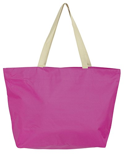 Leisureland Large Solid Color Beach Tote Bag (Fuchsia)