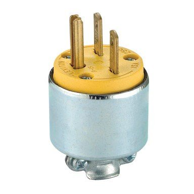 - Leviton 615PA 000-000 Straight Blade Electric Plug, 250 V, 15 A, 2 P, 3 W, Steel