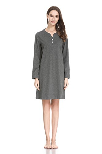 lantisan Cotton Knit Nightgowns for Women, Henley Knee Length Soft Nightshirt,Darkgray,L