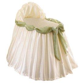 BabyDoll Swag Bassinet Liner/Skirt and Hood, Green Sash, 13''x29'' by Baby Doll