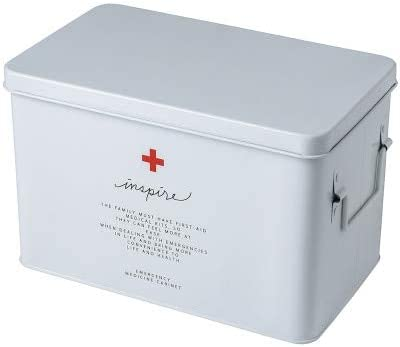 FGHSDCaja de Medicina Caja de Medicina doméstica Caja de Almacenamiento de Drogas tamaño de la Familia tamaño portátil ambulatorio Kit médico de Emergencia L Blanco