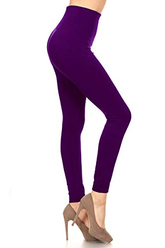 BLPT7-PURPLE Highwaisted Fleece Leggings, One Size