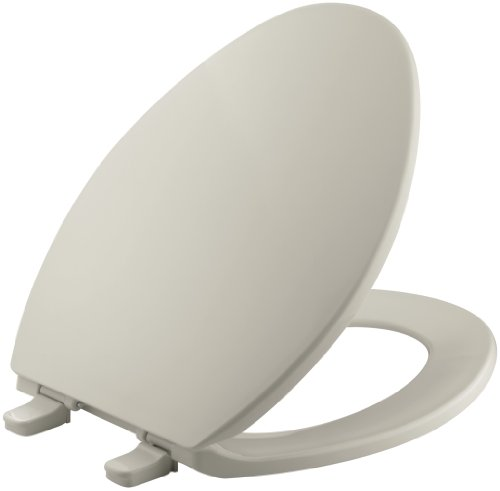 (KOHLER K-4774-G9 Brevia Elongated Toilet Seatwith Quick-Release Hinges and Quick-Attach Hardware for Easy Clean in Sandbar)