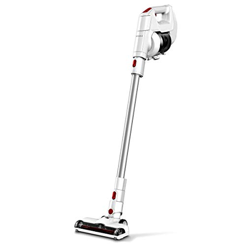 EYUGLE Cordless Vacuum Cleaner, 130W Powerful Suction, 2-in-1 Stick and Handheld Vacuum Cleaner with 2200mAh Detachable Battery, HEPA and Wall Mount for Hard Floor/Carpet/Stair/Car