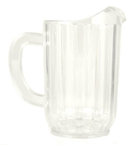 32 Oz. (Ounce) Water Beverage Serving Pitchers, Beer Pitcher, Restaurant Grade Heavy-Duty SAN Material Plastic Pitcher - Clear, Set of 6 ()