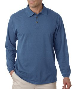 UltraClub Adult Long-Sleeve Classic Pique Polo, Large, Storm - Polo Adult Classic Pique