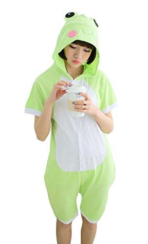 Tonwhar Summer Cartoon Animal One Piece Pajamas Cosplay Costume Adult Sleepwear (M(161-169cm), Frog) ()