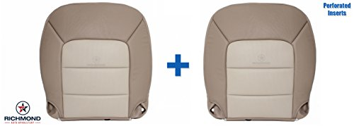 Richmond Auto Upholstery 2003-2006 Ford Expedition 2WD - Driver & Passenger Side Bottom Perforated Replacement Leather Seat Covers, 2-Tone Tan ()