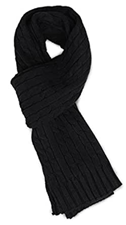 Sakkas SC1961 Ellington Unisex Knit Scarf - Cable Knit Black