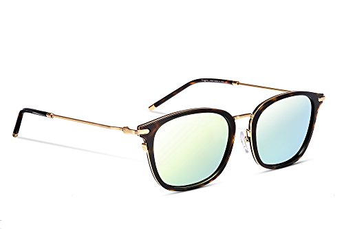 EyeGlow Tortoise Sunglasses Men and Women Designer Mirror Polarized lens 3D Acetate Material (Tortoise golden vs Golden Polarized lens, - Material Acetate