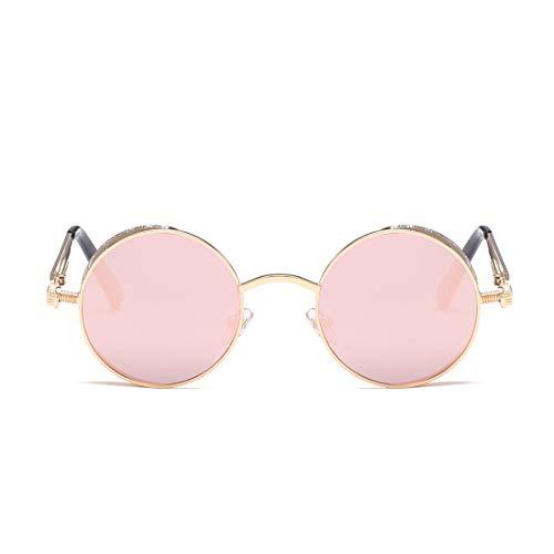 Lens Lens Rétro Plastique Gold De Pink en Frame Lunettes À pour Lunettes Silver Monture Soleil Frame Couleur Femmes TLMY Soleil de Silver wqC10TU