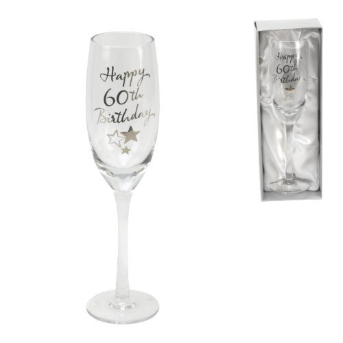 Juliana Happy 60th Birthday Champagne Glass Flute in Gift Box - 60s Flute