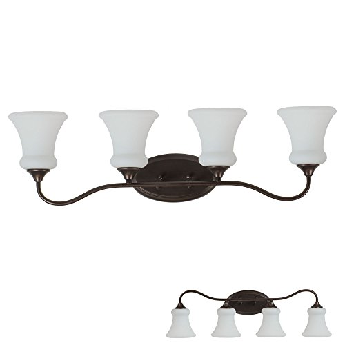 - Oil Rubbed Bronze Vanity Light 4 Bulb Bath Wall Fixture Curved Bar Opal Glass
