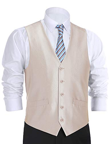 Chama Men's Formal Regular Fit Business Dress Suit Button Down Vest Waistcoat Many Colors (44 Regular, Beige Sharkskin) ()