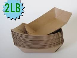 The Bakers Pantry Set of 100 Sturdy and Recyclable Brown Kraft Paper Food Trays Great for Parties, Takeout, Home Use, Outdoor (100, 4