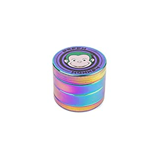 Green Monkey - 4 Piece Metal Dry Herb Grinder - Capuchin Classic Series Spice Grinder - Screen With Pollen Catcher Herb Shredder - Magnetic Top (50mm, Rainbow)