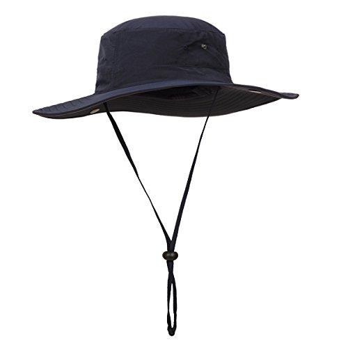 Wide Brim Cowboy Hats - Surblue Wide Brim Cowboy Hat Collapsible Hats Fishing/Golf Hat Sun Block UPF50+ (DEEP Blue)