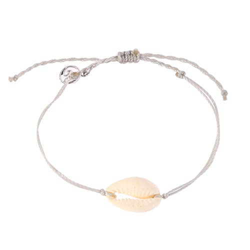 Orcbee  _Natural Shell Handwoven Adjustable Pull Bracelet Ladies Jewelry Gift (Beige)