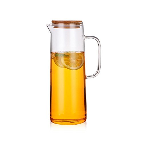 Jomop Borosilicate Glass Iced Tea Pitcher Fruit Infused Water Juice Iced Tea Kettle (Bamboo, 1.3 qt)