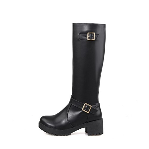 AmoonyFashion Womens Kitten-Heels Round Closed Toe Blend Materials Knee-High Boots Black 6na8s2GjaC