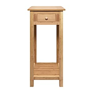 woodluv Bamboo Tall Side Bedroom Living Room Table with drawer and lower shelf