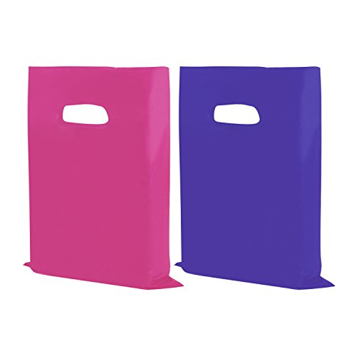 "Houseables Plastic Merchandise Bags, Retail Clothes Shopping Bag, 12"" x 15"", 100 Pack, 1.75 Mil Extra Thick LDPE, Low Density, Glossy, Pink And Purple Color, With Handles, For Stores, Boutiques, - Collect Returns Label"