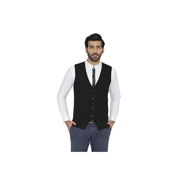 31O9IvADQ L. SS768  - Raas Prêt Men Black Cotton Waistcoat