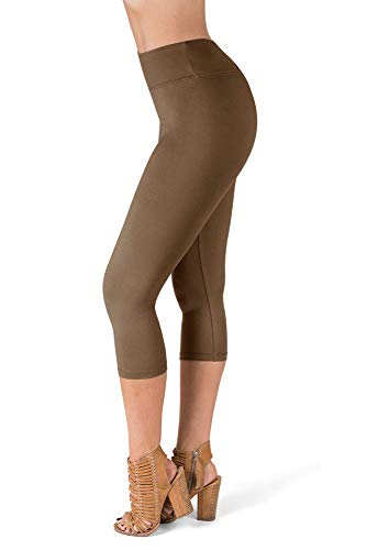 SATINA High Waisted Super Soft Capri Leggings - 20 Colors - Reg & Plus Size (Plus Size, Tan)