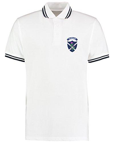 Logo Bleu Écosse nbsp;nations Pour Chardon Trybull Unies Homme Blanc Funkyshirt 6 Écusson Rugby Polo Du twn0xUgq