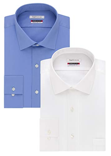 - Van Heusen Men's Flex Collar Regular Fit Solid Spread Collar Dress Shirt, White/Periwinkle, 15.5