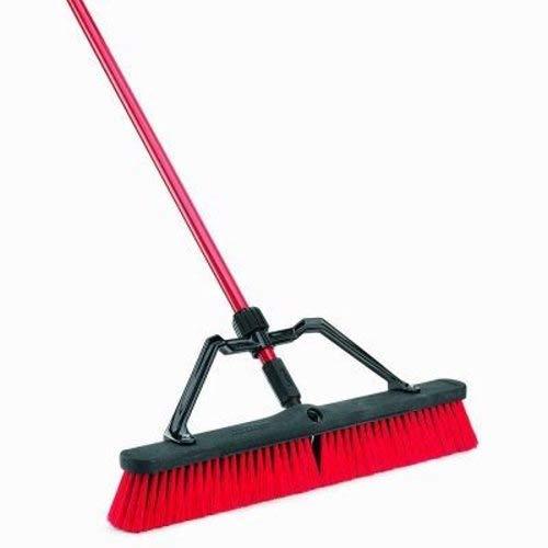Libman Commercial 823 Multi-Surface Push Broom, Steel Handle, 24'' Wide Sweep, Red & Black (Pack of 3)
