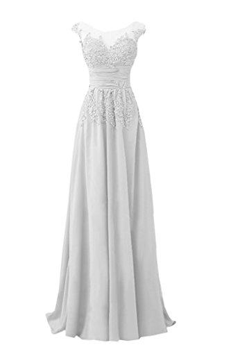 Abendkleid Festkleid Chiffon Spitze Damen Weiß Ivydressing Rundkragen Linie Promkleid lang Elegant Applikation A amp;Tuell 7qnnP4O