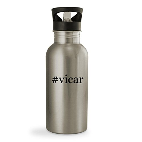 #vicar - 20oz Hashtag Sturdy Stainless Steel Water Bottle, Silver - Funny Vicar Costume