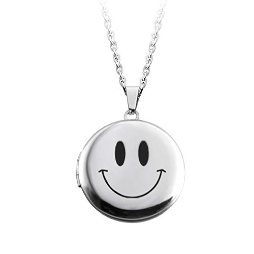 "Power Wing Stainless Steel Smiley Face Locket Necklace That Holds Pictures for Girls Women Boy Men Lockets 23""-24.5"""
