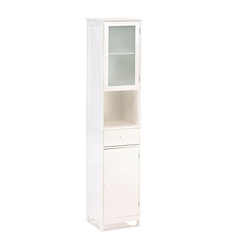 """70 7/8"""" TALL LAKESIDE WHITE WOOD TALL STORAGE CABINET or LINEN CABINETNIB from Wowdeal"""