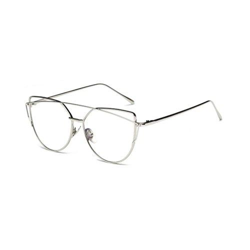 VIASA Women Fashion Twin-Beams Classic Metal Frame Mirror Sunglasses (Silver, Clear)