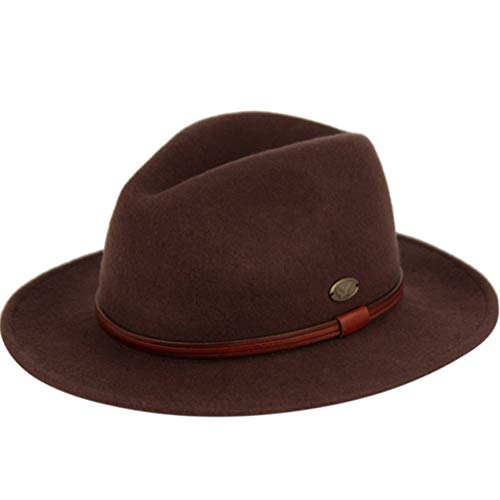 (Epoch hats Indiana Jones Style Men's Wool Felt Outback Fedora with Grosgrain or Faux Leather Band (M, HE61BROWN))